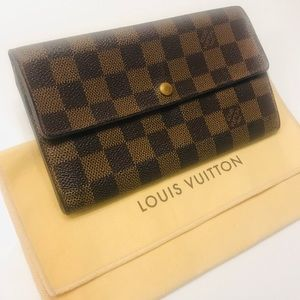 LOUIS VUITTON Damier Ebene Sarah Wallet w dust bag